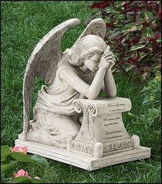 High Quality Inches Wide X Inches High, Resin Memorial Remembrance Grieving Angel Statue  For Grave