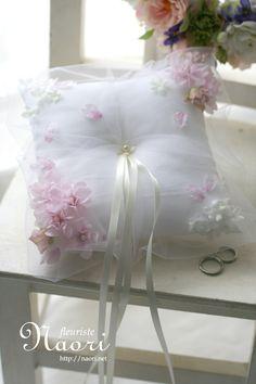 Ringpillow / cherry blossoms  / 桜のリングピロー Vintage Wedding Invitations, Printable Wedding Invitations, Wedding Stationery, Ring Bearer Pillows, Ring Pillows, Ring Pillow Wedding, Wedding Pillows, Wedding Trends, Wedding Cards