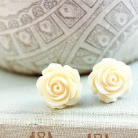 Cream Rose Earrings Surgical Steel Posts Flower Studs Light Yellow Floral Earrings Off White Rose Resin Jewelry Romantic Bridesmaids Gifts