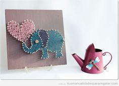Manualidad regalar chicas, hilorama forma elefante con corazón