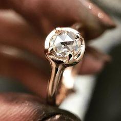 rose cut gold diamond ring