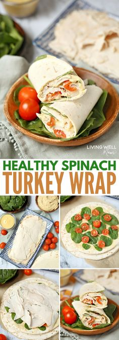 With delicious maple honey turkey slices, spinach, tomatoes, hummus, mayo, and Dijon mustard layered in a wrap, this Healthy Spinach Turkey Wrap is as satisfying and filling as it is tasty. It's a delicious, good-for-you alternative to the boring sandwiches or other common lunches we often eat. #healthyrecipes #lunch #easyrecipe sponsored by @shawsmarket