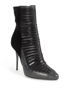 For Her  The Label Lover   Balmain Verne Mixed-Media Point-Toe Cage Booties  On Sale at Saks 177a1ec2c99