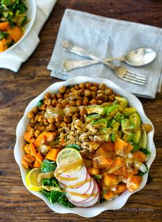 Farmer's Market Cobb with spiced chickpeas and sweet potatoes.