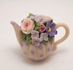 1/12TH scale  romantic chic floral teapot  BY LORY by 64tnt, €20.00