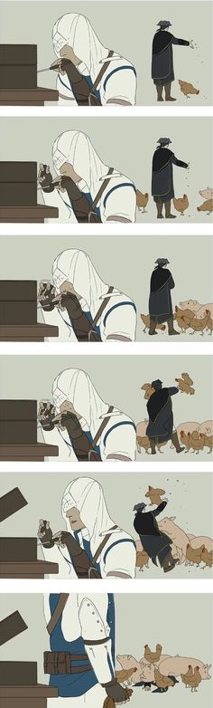 Connor and Haytham Kenway funny. Assasins Cred, Assassins Creed Memes, Mundo Dos Games, Funny Comic Strips, Templer, Fandoms, Funny Comics, Video Games, Fan Art