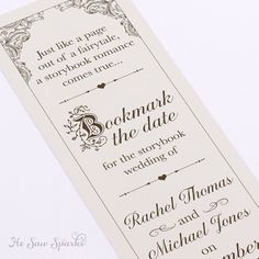 Fairytale Bookmark Save The date - DIY - Printable by HeSawSparks on Etsy https://www.etsy.com/listing/226455718/fairytale-bookmark-save-the-date-diy