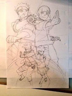 Naruto Uzumaki, Hinata Hyuga, Boruto Uzumaki And Himawari Uzumaki - Concept Art (Naruto Shippuden) All right reserved by Masashi Kishimoto. Naruto Und Hinata, Uzumaki Boruto, Naruto Art, Naruhina, Anime Naruto, Hinata Hyuga, Naruto Sketch, Naruto Drawings, Anime Sketch
