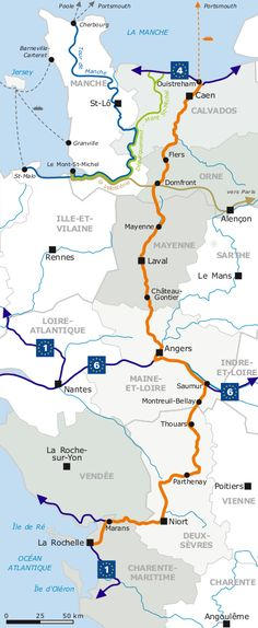 The Velo Francette is a bike 615 Km route that links the port of Ouistreham to the city of La Rochelle. #France