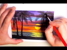 Watercolor Painting SUNSET WITH PALM TREES - SPEED PAINTING How to paint a Seascape Ocean Nature - YouTube