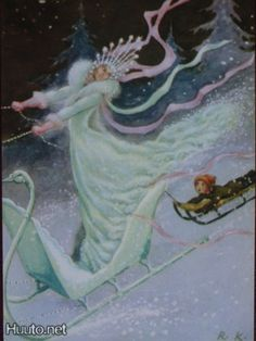 Illustration of Rudolf Koivu: a fairytale of the snow queen. Published by Amnesty international Andersen's Fairy Tales, Fairy Land, Candy Art, Eye Candy, Snow Fairy, Snow Queen, Typography Prints, Scandinavian Christmas, Faeries
