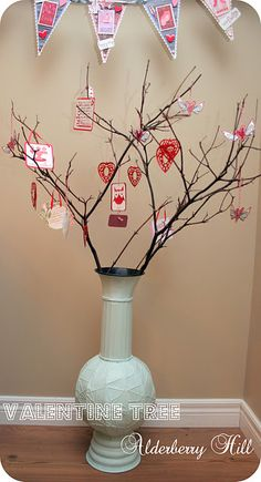 A simple twig/vase combo that can be decorated for every holiday--what a great idea!
