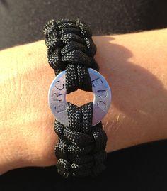 Metal Stamped Washer- Cobra Paracord Bracelet - Personalized Bracelet - Engraved Bracelet. $10.00, via Etsy.