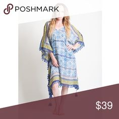 "Tile Kaftan Cover-Up This tile printed kaftan can be worn as a cover up or just as a long dress. It features tassels at the end and embroidery.  100% Cotton Hand Wash Cold Made in India Fit Guide:  Model is 5' 6"" and wearing a size S    SKU: KFT107 Love Stitch Swim Coverups"