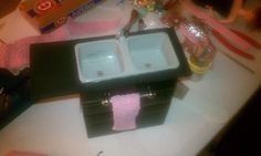 We love to make Barbie furnishings from items found around the house