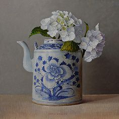 Witte hortensia in Chinese kan 2015 (25 x 25 cm) ; Ingrid Smuling