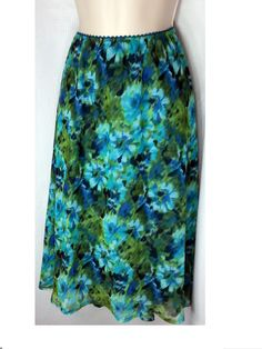 Connected Woman Skirt 3X Watercolor Floral Blue Green Sheer Lined Below Knee  #ConnectedWoman #ALine