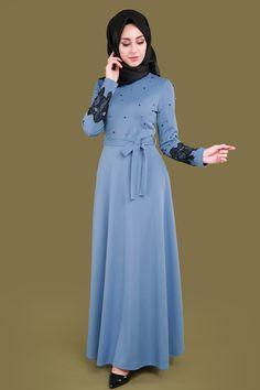** YENİ ÜRÜN ** İncili Tesettür Örme Elbise Bebe Mavisi Ürün kodu: BNM00287 --> 89.90 TL