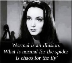 Image result for morticia addams quotes normal is an illusion