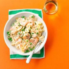 Shrimp Pasta Alfredo Recipe -My son loves any recipe with Alfredo sauce. When he cooked as a bachelor, shrimp pasta was one of his first recipes. Now his children ask for it. Gail Lucas, Olive Branch, Mississippi