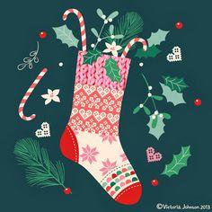 christmas, stocking, greeting card design, surface pattern, illustration victoriajohnsondesign.com