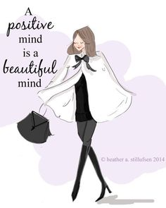 """""""A positive mind is a beautiful mind."""" Art For Women  Inspirational Art  Room by RoseHillDesignStudio #quote #quotesforlife #positivity #thinkpositive"""