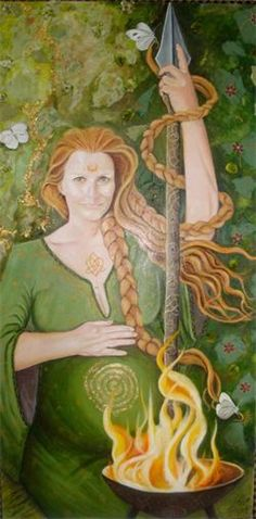 Brighid - Mother Goddess of Ireland, (Brid,Bride,Brigid) is the Triple Goddess of Ireland but her influence could be found in Scotland as Celtic Goddess, Celtic Mythology, Goddess Art, Brighid Goddess, Beltaine, Mother Goddess, Triple Goddess, Sacred Feminine, Celtic Art