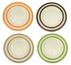 Teller Dessertteller Kuchenteller Campos von flirt mit farbigen Streifen 6 Stück Set – Bild 1