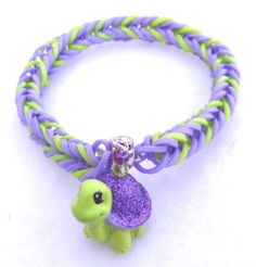 Tiny Turtle Rainbow Loom Bracelet with Squinkie by TheNewFrontier, $7.99