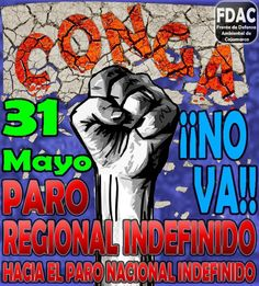 31  de Mayo - Paro en Cajamarca  http://globalvoicesonline.org/2012/06/05/peru-the-march-for-peace-and-the-strike-in-cajamarca/