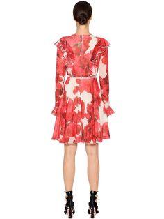 GIAMBATTISTA VALLI - RUFFLED PRINTED SILK GEORGETTE DRESS - DRESSES - RED - LUISAVIAROMA