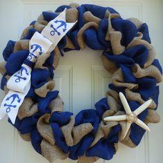 Coastal Wreath/Nautical Wreath//Beach Wreath/Summer Door Wreath/Summer Wreath Burlap/Nautical Wedding Decor/Front Door by OneofaKindWreath on Etsy