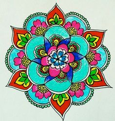 Mandala Mandala Doodle, Mandala Drawing, Mandala Painting, Dot Painting, Mandala Design, Art Lotus, Coloring Books, Coloring Pages, Indian Patterns
