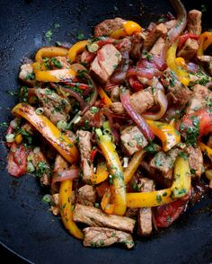 Pork lomo saltado - Peruvian inspired pork stir fry - Latin Recipes