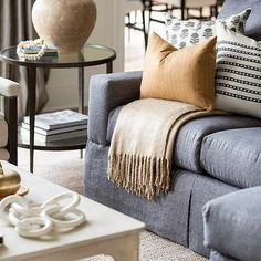 Black and White Pillows on Gray Sofa - Transitional - Living Room Living Room Color Schemes, Living Room Grey, Living Room Sofa, Cushions For Grey Sofa, Tan Sofa, Grey Sofa Design, Lounge Design, Dark Grey Couches, Woven Dining Chairs