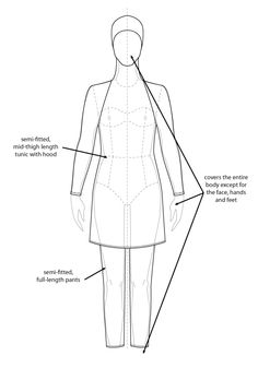 Burqini Flat Drawings, Flat Sketches, Technical Drawings, Fashion Illustrations, Fashion Sketches, Fashion Flats, Hijab Fashion, Sports Hijab, Fashion Pattern