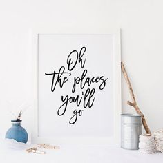 PRINTABLE Art,Oh The Places You'll Go,Travel Poster,Explore,Adventure Print,Wall Art,Inspirational Quote,Typography from TypoArtHouse on Etsy.