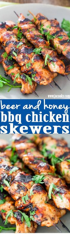 Incredibly delicious Beer and Honey BBQ Chicken Skewers - Perfect for a weekend or even a busy week night. Just prepare the night before, let marinate overnight and grill when ready. #BBQChicken