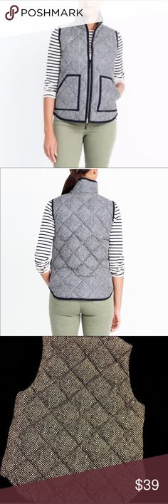 J. Crew Herringbone Quilted Vest Size Small J. Crew Herringbone Quilted Vest. Gold Hardware. Like-New Condition.   All items come from a smoke free home and are shipped on the same or following day an order is placed.   Items are shipped in polymailers placed INSIDE boxes to ensure all purchases are completely protected from damage or weather conditions. J. Crew Jackets & Coats Vests