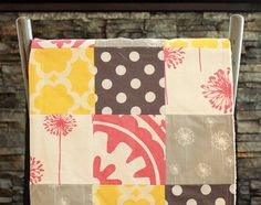 Patchwork Baby Blanket, Modern Baby Quilt - Coral, Grey and Yellow Baby Blanket on Etsy, $90.00