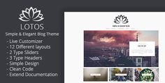 Lotos is a versatile and powerful multipurpose WordPress blog theme perfect for any personal blog. Lotos makes customizing your blog and changing colors, fonts, and most elements a breeze. Lotos offers a stunning visual experience to showcase your content with responsive grid system layout optimized for mobile touch and swipe. Perfect for fashion blogs, lifestyle blogs, travel blogs, food blogs, craft, tech, creative, photography., etc.  #food #blog #design #simple #layout