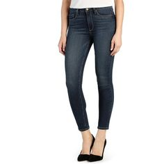 Paige Denim 'Transcend - Hoxton' High Rise Ankle Skinny Jeans ($183) ❤ liked on Polyvore featuring jeans, penrose, high-waisted skinny jeans, destroyed skinny jeans, stretch skinny jeans, distressed jeans and high waisted ripped jeans