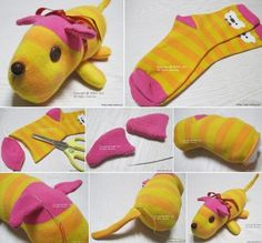 Sewing Stuffed Animals Cute stuffed animal made from socks - We've put together lots of Sock Animals that you are going to love to make. Check out all the free patterns and tutorials now. Sewing Toys, Sewing Crafts, Sewing Projects, Craft Projects, Sock Crafts, Fabric Crafts, Fun Crafts, Diy For Kids, Crafts For Kids