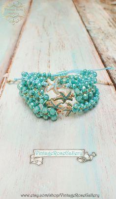 Summer Starfish Bracelet, #VintageRoseGallery #etsy Summer Boho Chic Bracelet, Starfish Bracelet, Friendship Bracelet by VintageRoseGallery