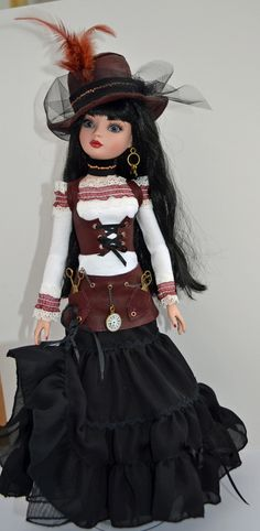OOAK Handmade Steampunk Outfit for Ellowyne Wilde and friends Steampunk Dolls, Gothic Dolls, Steampunk Clothing, Pretty Dolls, Beautiful Dolls, How To Make Fascinators, American Girl Dress, Doll Outfits, Doll Costume