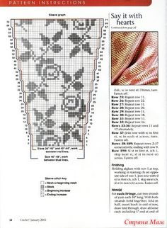 Roses in filet (charts 3) ~ think about it: you could make just the sleeves, and attach them to another garment, such as a recycled sweater or knit top, t-shirt, dress, etc.