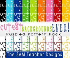 Cutest Backgrounds Ever: Puzzle Themed Pattern Pack. $4.00, via Etsy.