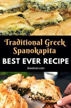 Spanakopita Recipe Best Ever Greek Spinach Pie {Video - Greek Recipes - Food Spanakopita Recipe, Moussaka Recipe, Vegetable Recipes, Vegetarian Recipes, Cooking Recipes, Healthy Recipes, Steak Recipes, Spinach Recipes, Meatball Recipes