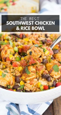 These Southwest Chicken and Rice Bowls are packed with flavor and perfect for weeknight meals. Filled with tender chicken, brown rice, bell peppers, corn, black beans, and a mixture of spices, this zesty dish is simple to prepare and ready in no time! #chicken #southwest #southwestchicken #rice #chickenandrice #ricebowl #dinner #easydinner Mexican Chicken And Rice, Corn Chicken, Chicken Rice Bowls, Chicken Peppers Rice Recipe, Chicken Rice Recipes, Chicken And Brown Rice, Chicken Bell Pepper Recipes, Mexican Beans And Rice, Mexican Rice Bowls