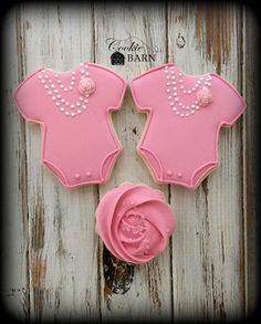 Baby Shower Onsie Girl Pink  Decorated Cookies